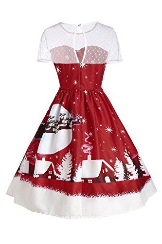 MisShow Damen Vintage Weihnachtskleid Festlich Rockabilly Kleid mit Weihnachsmann Rentier Kleider Kurz Rot 5 F6oe2b