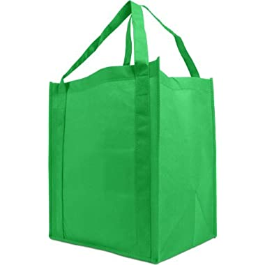 Reusable Reinforced Handle Grocery Tote Bag Large 10 Pack - Kelly Green