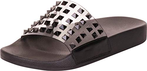 Cambridge Select Women's Clear Single Band Pyramid Stud Slip-On Flat Slide Sandal,6.5 B(M) US,Black