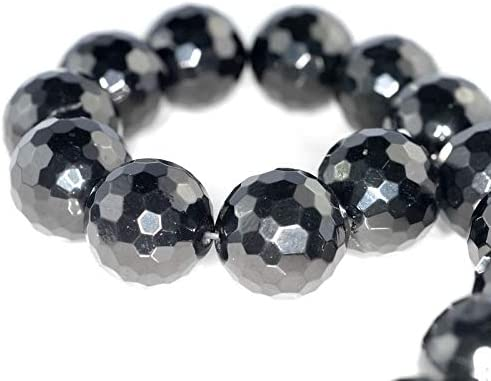 Arts /& Sewing by Perfect Beads Store DIY Crafting Beading 24MM Black Jet Gemstone Organic Micro Faceted Round Loose Beads 6 Beads Jewelry Making