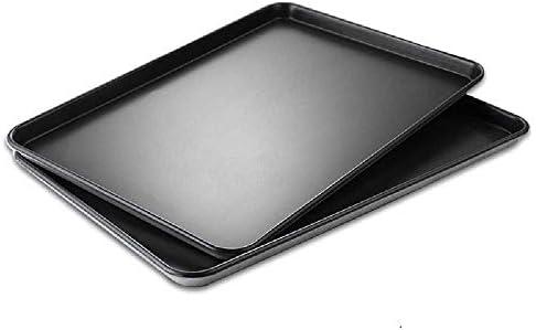 Poêle de cuisson épaisse en aluminium anti-adhésif pour barbecue commercial - 66 x 42 x 6 cm - Noir