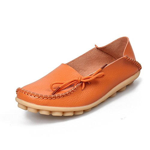 Dear-Queen Womens Genuine Leather Loafers Casual Moccasin Driving Shoes Indoor Flat Slip-On Slippers Orange 5zhs1