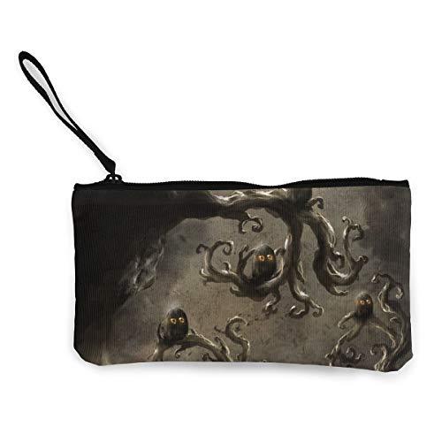 Wristlet Clutch Wallet For Women, Ladies Wedding Party Long Purse, Owls On Dead Trees Canvas Coin Purse Handbag]()