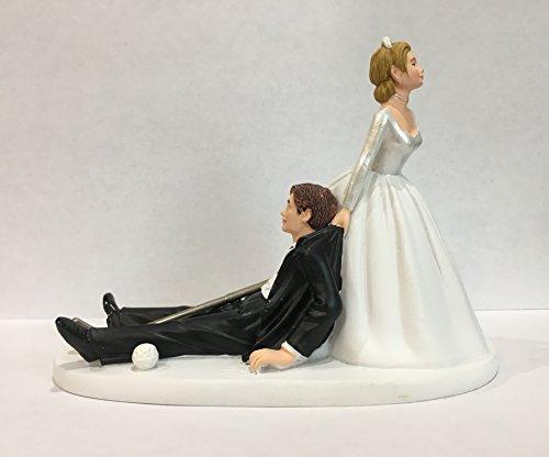 Bride and Groom Golf Wedding Cake Topper - Funny Golf Wedding Cake Topper - Perfect Cake Topper for Golfers - Groom's Cake Topper - Rehearsal Dinner Cake Topper
