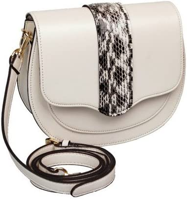 EMP.T LABEL Womens Classic Ivory Small Half Moon Shaped Shoulder Crossbody Bag
