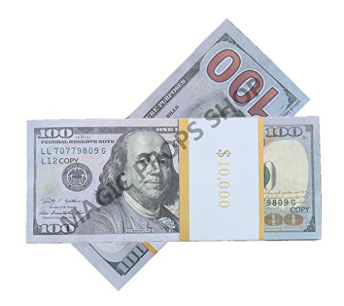 EWIBUSA Total $10,000 Dollar $100X100 Pcs US Currency prop money full print Props money Play Money Bill Real Looking New Style Copy Double-Sided Printing - for Movie, TV, Videos, Advertising & Novelty