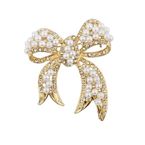 Lux Accessories Gold Tone Pearl and Pave Rhinestone Casted Bow Brooch Pin