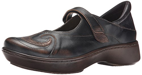 NAOT Women's Sea Mary Jane Flat, Volcanic Brown Leather/Bronze Shimmer Suede, 40 EU/8.5-9 M US