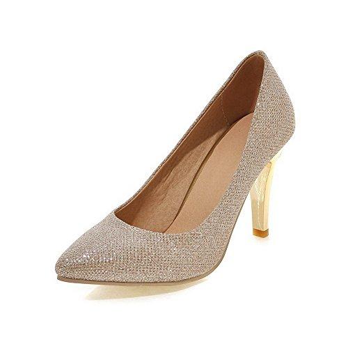 AllhqFashion Damen Stiletto Weiches Material Rein Ziehen auf Spitz Zehe Pumps Schuhe Golden