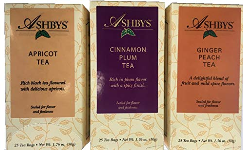 Ashbys Apricot Tea, Cinnamon Plum Tea, and Ginger Peach Black Tea - 3 Boxes of 25 Bags Each