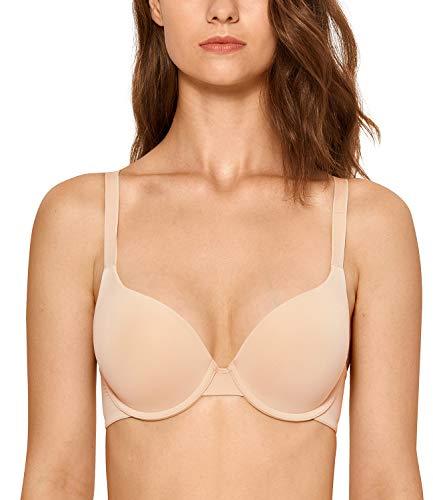 DOBREVA Women's Smooth T Shirt Full Coverage Underwire Push Up Bra Beige 40A