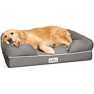 PetFusion Large Orthopedic Dog Bed, 4″ Solid Memory Foam, Waterproof liner, Removable Cover. [Gray, Rectangle pet bed, dog couch, dog sofa, dog lounge]. Breathable cotton & polyester fiber blend