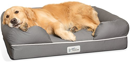 PetFusion Ultimate Solid 4' WATERPROOF Memory Foam Dog Bed for Medium & Large Dogs (36x28x9'...