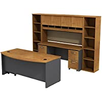 Bush Business Furniture Series C 72W Bowfront Desk with 72W Credenza, Hutch & (2) half-width Bookcases