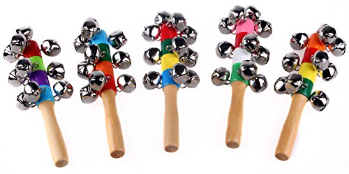 Andesan 1 pc Creative Wooden Rainbow Handle Shaking Bell Jingle Stick Toy for Children - Shaking Bath