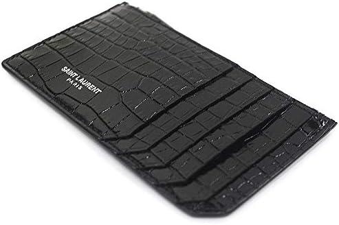 サンローラン カードケース 小銭入れ レディース メンズ S型押しクロコ 458583 DND0N 1000 ブラック [並行輸入品]