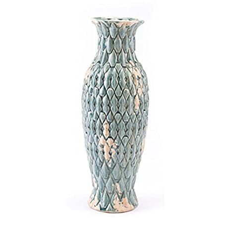 Painted Vases with Metal Handles Blue Fuschia   Decorative Urn