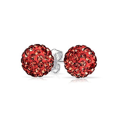 Round Simple Basic Red Pave Crystal Disco Ball Stud Earrings Women For Teen 925 Sterling Silver 8MM