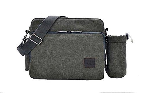 Canvas Messenger Travel Purse Multifunction Versatile Crossbody Bag Messenger Shoulder Bag for College School Change Packet with Small Water Bag Grey