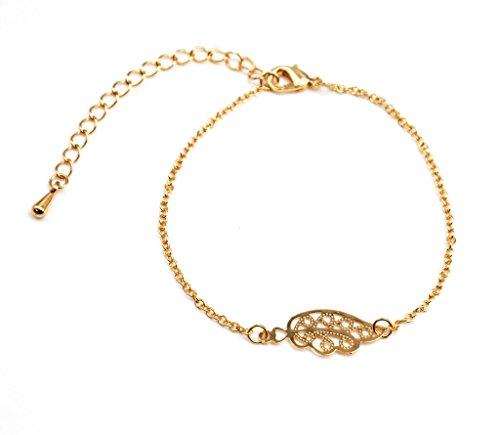 BC1008F - Bracelet Fine Chaîne avec Charm Aile Ciselée Métal Doré - Mode Fantaisie