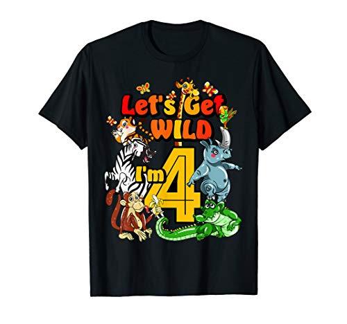 Kids 4 Year Old Zoo Birthday Shirt Safari Jungle Animal -