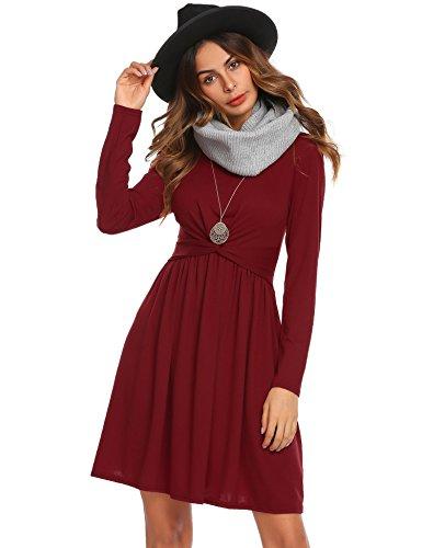 Lonlier Damen Kleid elegante Doppelkreuz Overall Partykleid ...