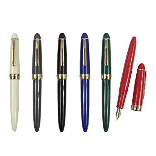 SIPLIV Set of 6 Plastic Fountain Pen with a Genuine Leather Pen Pouch, Gold Trim Pen Set Diversity Color(White,Grey, Black, Blue, Green, Red)