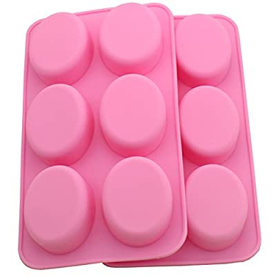 Zicome Oval Silicone Mold for Soap Bar Making, Set of 2