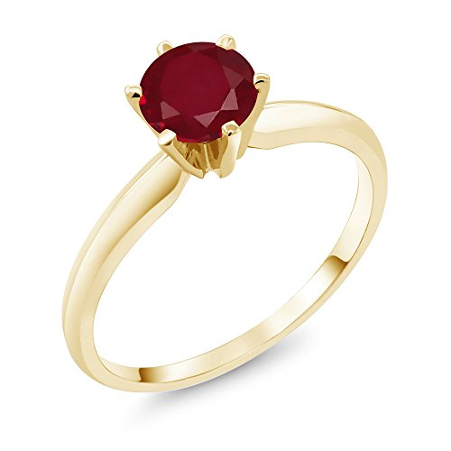 Gold Genuine Ruby Ring - 1.00 Ct Red Ruby 14K Yellow Gold Engagement Solitaire Ring (Ring Size 7)