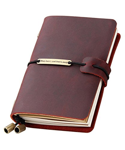 Refillable Handmade Traveler's Notebook, Leather Travel Journal Notebook for Men & Women, Perfect for Writing, Gifts, Travelers, 5.2