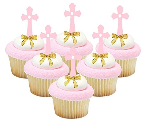 First Communion/Christening / Baptism/Wedding Cake & Cupcake Decoration Toppers (12pk Pink Cross Picks Gold Bow) ()
