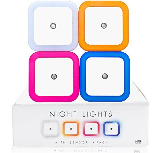 LED Nachtlicht 4 Farben Pack für Kinderzimmer und Schlafzimmer - 0,5 W Stromsparend Orientierungslicht für Gang und Keller, Stimmungslicht, Nachtlampe, Eurostecker - Mini Stimmung Lampe