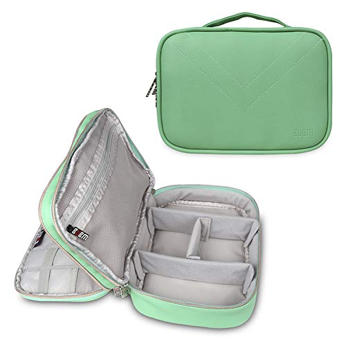BUBM Electronics Travel Cable Organizer, Double Layers Flash Drives USB Storage Pouch, Travel Gadget Storage Bag Case for Adapter,Hard Drives,Power Bank,Charger,Cords,iPad Mini.(Medium Green)