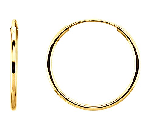 14K Gold Thin Continuous Endless Hoop Earrings (1mm Tube) (15mm - Yellow Gold) by LooptyHoops