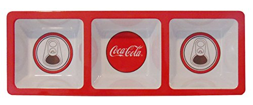 (Red Disc Melamine Coca-Cola Divided Snack Tray)