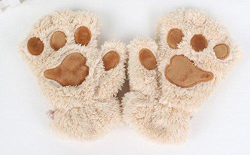 Fingerless Gloves Furry Mitten Bear Paw Winter Plush Gloves for Women Girls (Beige)