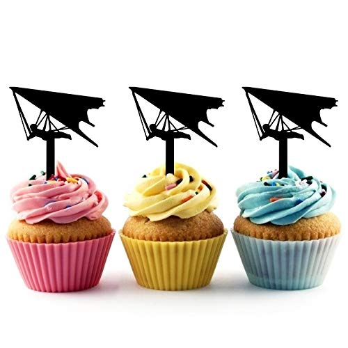TA0909 Hang Glider Silhouette Party Wedding Birthday Acrylic Cupcake Toppers Decor 10 pcs