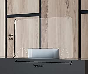 Mampara de Protección Mostrador 750 x 680 mm. Irrompible, lavable ...