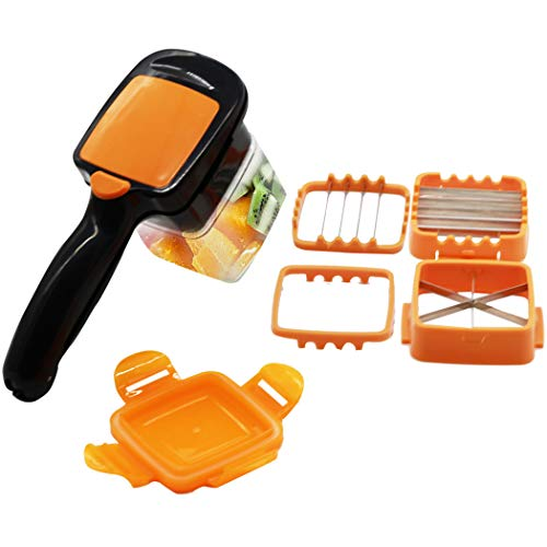 ASCENDAONS Vegetable Chopper, 5 In 1 Fruits Cutter Chopper Slicer Column Egg Cutter ,Portable Quick Perfect Kitchen Food Choppers,Quick Perfect for Kitchen Cooking Xmas New Year Dinner Party (Orange)