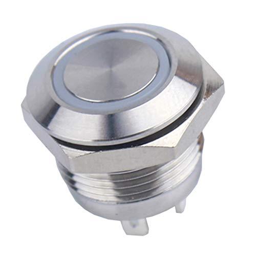 防水 LEDモーメンタリ 押しボタンスイッチ 12mm 12V リセット可能 青ライト