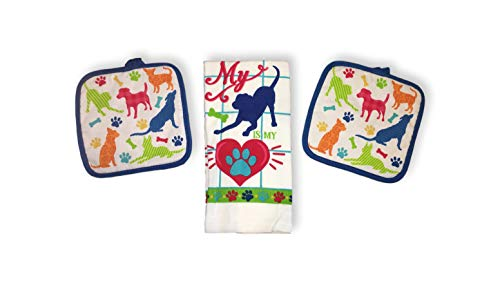 Dog & Cat Lover Dishtowel & Potholder Sets - Four Legged Love Paw Prints (My Dog is My Heart - Dog Lover)