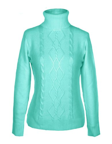 G2 Chic Women's Diamond Cable Knit Ribbed Turtleneck Sweater(TOP-SWT,LBL-SMALL)
