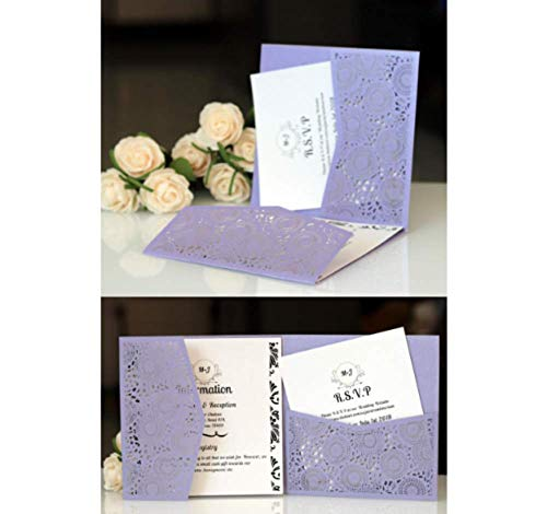 10PCS #3 Purple Laser Cut Wedding Invitations Cards Wedding Birthday Engagement Greeting Tksmart from Unknown
