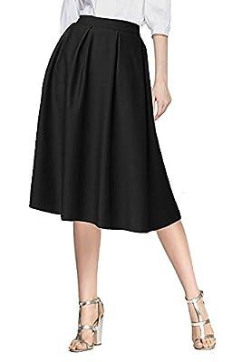 Omelas Women's High Waist Pleated Skater Skirt Midi A-Line Flared Skirt with Pockets