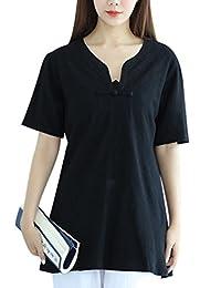 Zoulee Women's Short Sleeve Slim Linen T Shirt