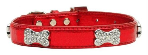 Mirage Pet Products Metallic Crystal Bone Collars, Red, Small