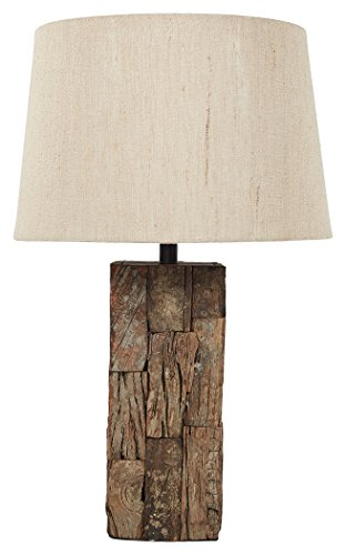Wood Base Table Lamp - Ashley Furniture Signature Design - Selemah Table Lamp - Reclaimed Wood Base - Light Brown
