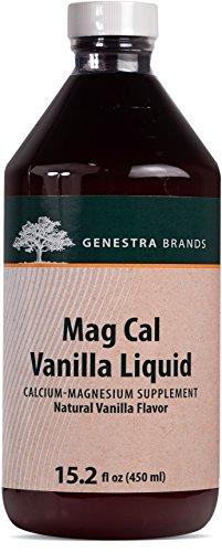 Pregnancy Mag Cal Plus - Genestra Brands - Mag Cal Vanilla Liquid - Calcium-Magnesium Supplement - Natural Vanilla Flavor - 15.2 fl oz (450 ml)