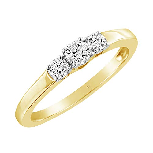 Brilliant Expressions 14K Yellow Gold 1/3 Ct Colorless Lab Created Conflict Free Diamond 3-Stone Shared Prong Anniversary Band (E-F Color, VS2-SI1 Clarity), Size 7