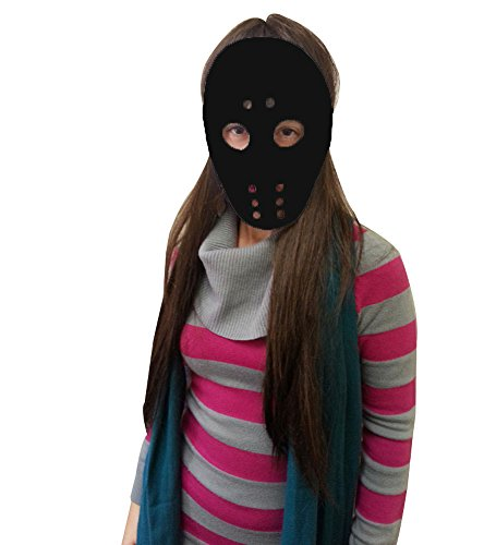 Black Hockey Mask - Hockey Mask In Black As Seen In Horror Movies (Horror Movies Costumes)